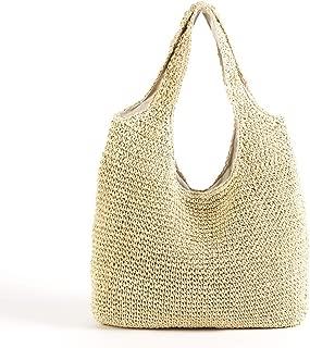 QTKJ Hand-woven Soft Large Straw Shoulder Bag Boho Straw Handle Tote Retro Summer Beach Bag Rattan Handbag (Beige)