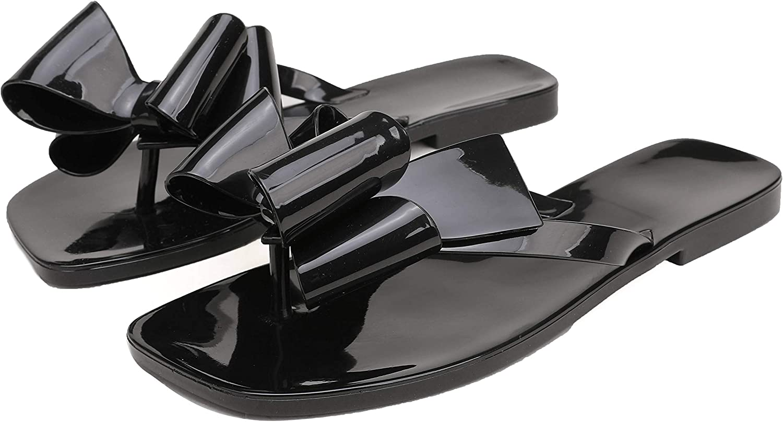 Women's Sandals Jelly Flip Beach Flat Summer Flops Shoes Slide Thong Slippers Bow Open Toe Rubber