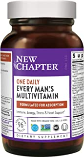 New Chapter Men's Multivitamin + Immune, Energy & Stress Support – Every Man's One Daily with Fermented Probiotics & Whole...