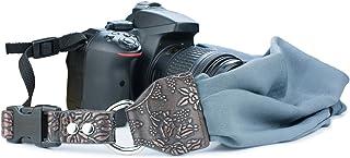 Camera Shoulder Neck Strap, Sugelary Vintage Fabric Satin Scarf Camera Strap for All DSLR Camera Nikon Canon Sony Pentax (Grey)