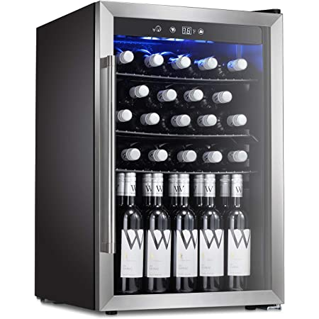 Tavata Wine Cooler Freestanding Single Zone Fridge and Cellar Chiller Quiet Wine Refrigerator with UV Protection Glass Door,Compressor Refrigeration for Counter Top/ 37 Bottles