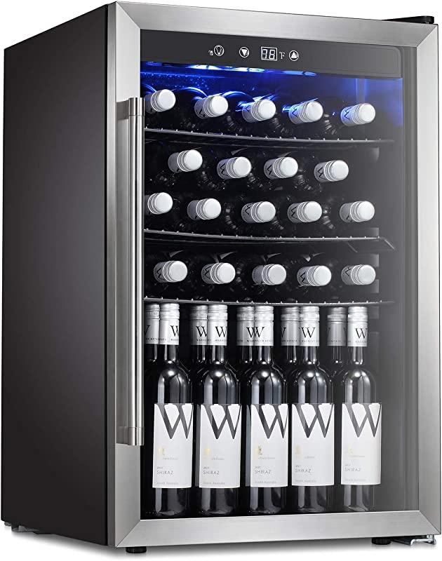Antarctic Star Wine Cooler Beverage Refrigerator 36 Bottles Beer Soda Cellar Fridge Freestanding Chiller Stainless Steel Quiet Counter Top Operation Compressor Glass Door Digital Memory Office Dorm