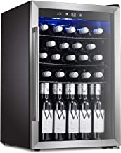 Antarctic Star Wine Cooler Beverage Refrigerator 36 Bottles Beer Soda Cellar Fridge Freestanding Chiller Stainless Steel & Quiet Counter Top Operation Compressor Glass Door/Digital Memory Office/Dorm