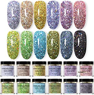 BORN PRETTY Glitter Dipping Nail Powder Set Natural Dry Laser Dip Nail Powder Starter Kit 12 Colors for Nail Extension without UV LED Lamp Cured