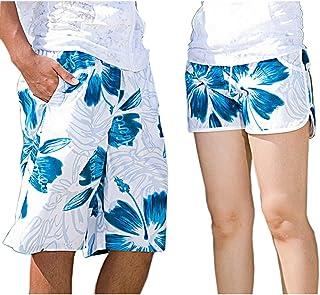 Spinas(スピナス) カップル ペア サーフパンツ ビーチパンツ ペアルック 夏 短パン 海パン ハイビスカス おそろい 男女各3サイズ