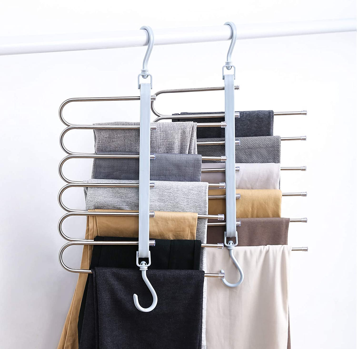 YUELMAN Raleigh Mall 6-in-1 Pants Hangers Special price for a limited time Space Slip Saving Clothes Non Organ
