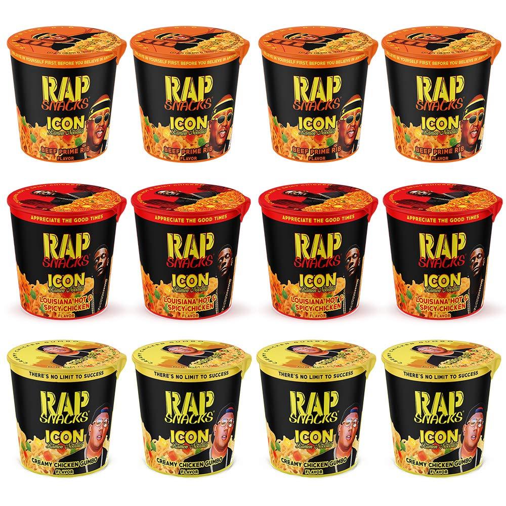 Rap Snacks Featuring Hip-Hop Stars Ramen Noodles (Pack of 12) (Master P, E-40, Boosie Variety Pack)