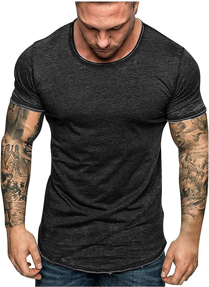 Herren Sommer T-Shirt mit Rundhalsausschnitt Rundhals Ausschnitt Slim Fit Tee Baumwolle-Anteil Cooles Basic Männer T-Shirt Crew Neck Jungen Kurzarmshirt O-Neck Kurzarm Sleeve Top Lang