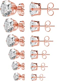 UHIBROS Surgical Stainless Steel Stud Earrings Set Pierced Cubic Zirconia Round Ear Studs 6 Pairs 3-8mm