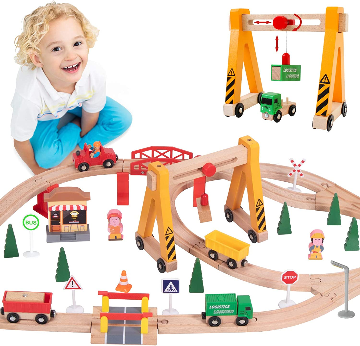 Lebze Toy Train Set for Max 65% OFF Toddlers Sale Special Price Tr - Pieces Wooden 55
