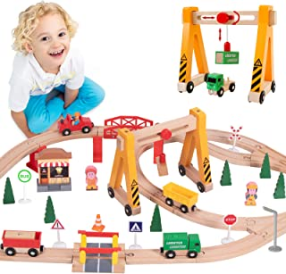 Lebze Toy Train Set for Toddlers - 55 Pieces Wooden Train Set Track & Exclusive Crane & Trains Pack Fits Thomas, Brio, Chu...