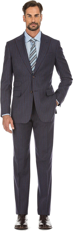 English Laundry Men's 2-Piece Slim Fit Wide High Peak Lapel Suit Blue Striped Wool Blend Suit (40 Large)