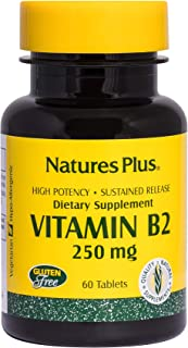 NaturesPlus Vitamin B2 (Riboflavin) - 250 mg, 60 Vegetarian Tablets, Sustained Release - Natural Energy & Metabolism Booster, Promotes Overall Health - Gluten-Free - 60 Servings