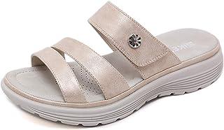 SMajong Mules et Sabots Femme Sandales Mode Cuir Sandals Plateforme Été Bout Ouvert Pantoufles Plage Casual Chaussures Voy...