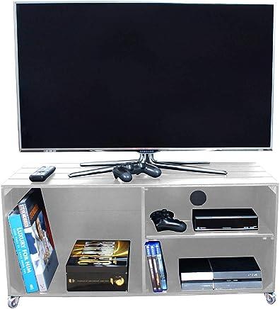 Liza Line Mesa DE Madera, Mueble TV con 3 Compartimentos y Ruedas Giratorias. Mueble Televisor de Pino Nórdico Macizo, Estilo Cajas Vintage con Estantes - 90 x 40 x 42 cm (Blanco)