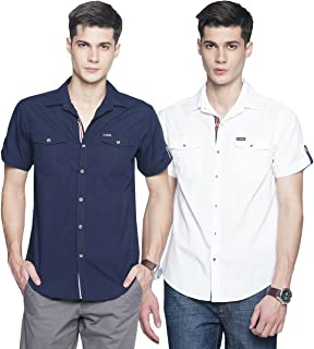 OJASS Men Solid Casual Blue, White Shirt (Pack of 2)