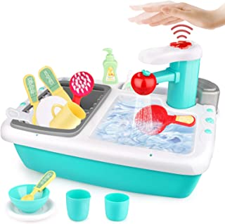 Betheaces Kitchen Sink Toys with Automatic Induction Water Cycle System, Pretend Play Kitchen Game, House Role Play Toys f...