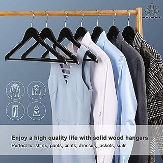 Gracious Mart Hangers, Solid Wood Hangers, Smooth Finish, Ergonomic Design, Black Pack of 6