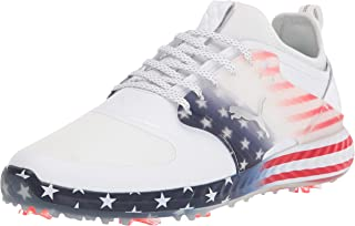 PUMA Men's Ignite Pwradapt Caged Stars and Stripes Golf Shoe