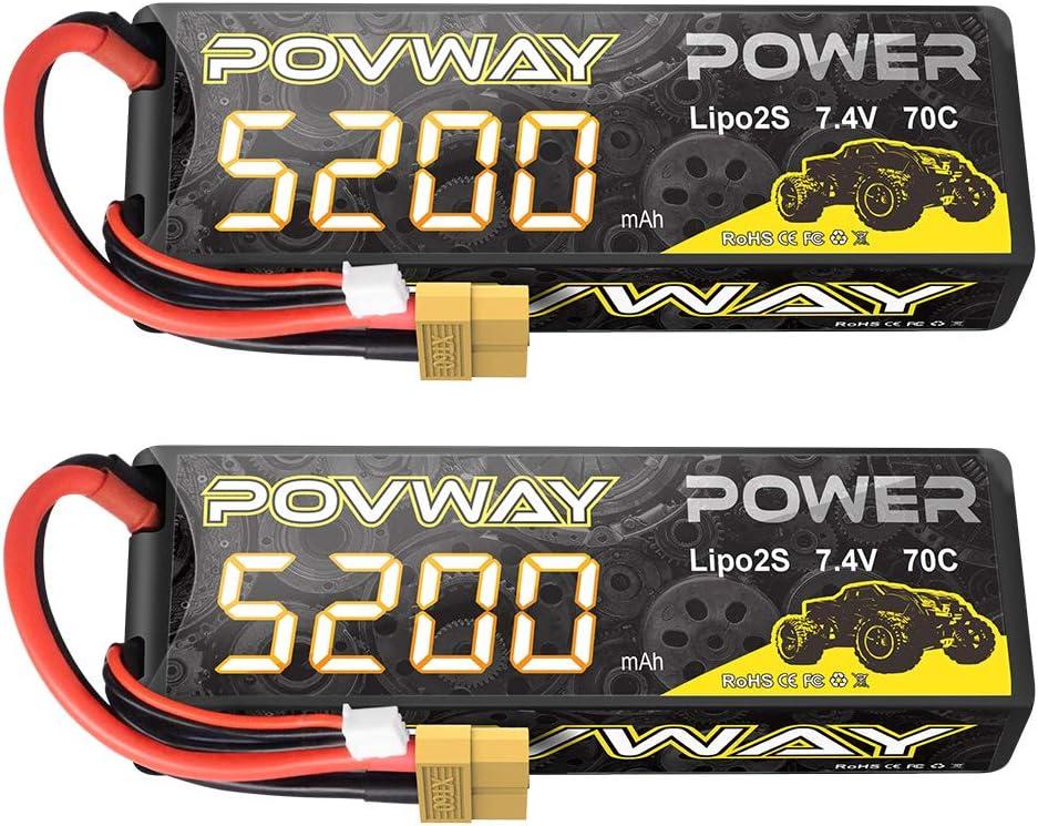 POVWAY 5200mAh 70C 7.4V 2S RC LiPo XT60 Philadelphia Mall Bargain Case Battery Hard f with