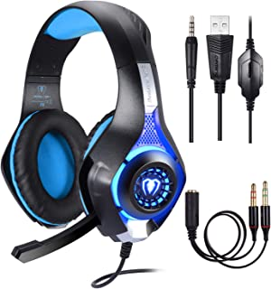 BlueFire - Auriculares para juegos (0.138 in, PS4, con micrófono y luz LED, para Playstation 4, Xbox One y PC), Azul