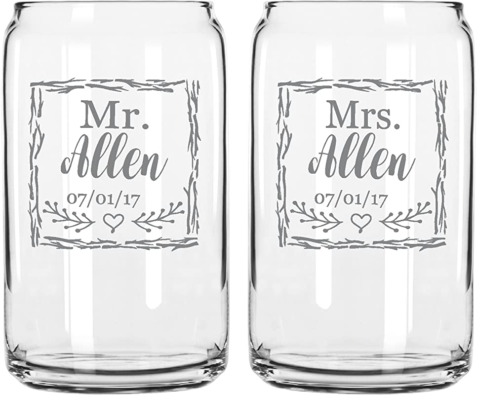 Two Engraved Beer Can Glasses For The Bride And Groom Mr And Mrs Last Name Wedding Date Rustic Gift For Couple His And Hers Anniversary Present Customized Glassware For Outdoor Reception