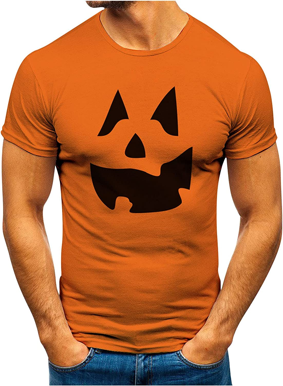 XXBR Halloween Jack-O-Lantern T-shirts for Mens, Funny 3D Pumpkin Printed Athletic Crewneck Tee Tops Casual Tshirt