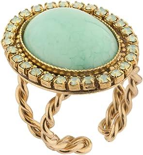 Satellite 女式镀金绿宝石优雅 Gabroella 红色圆顶戒指