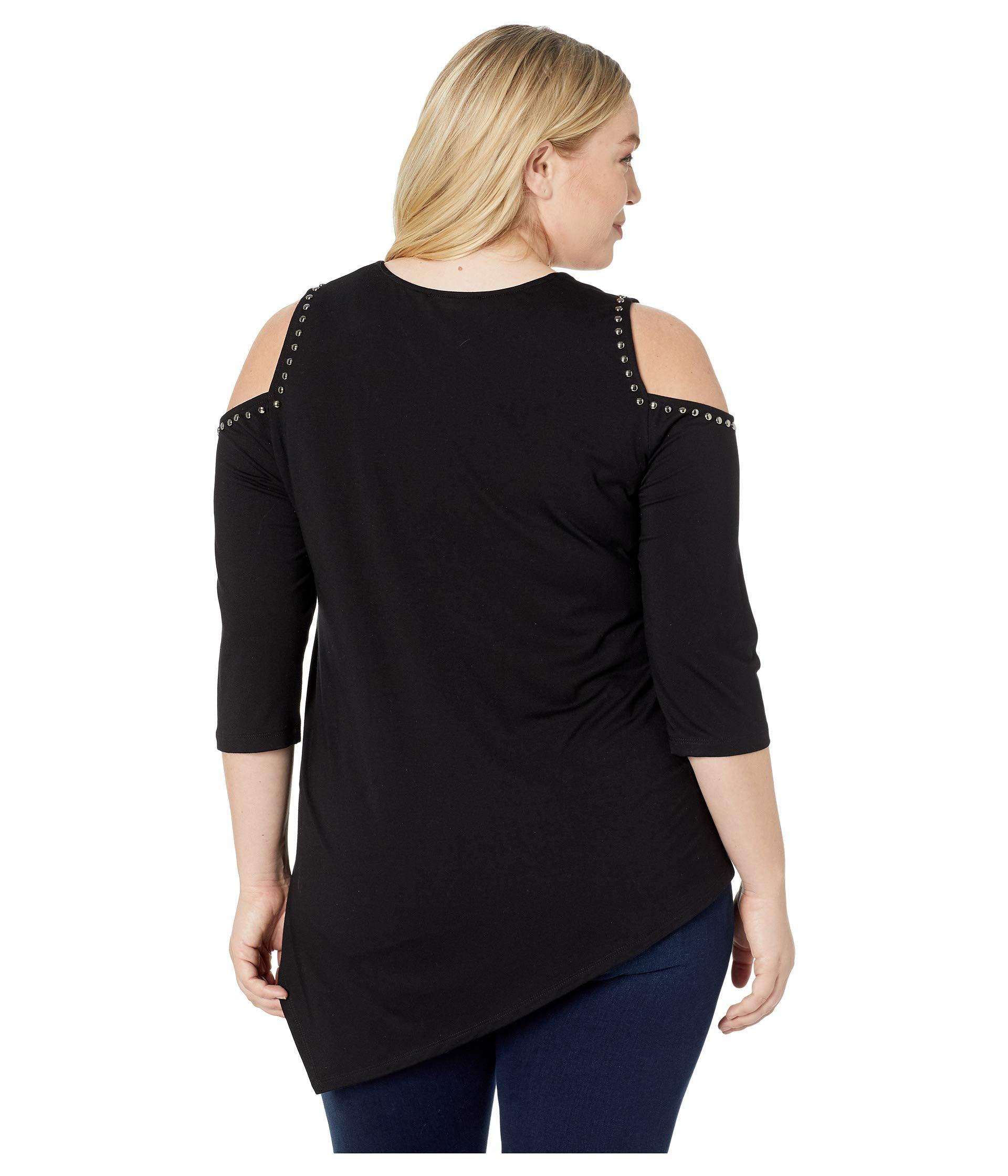 Karen Cold Studded Kane Shoulder Black Top Size Plus 7wrvqP47