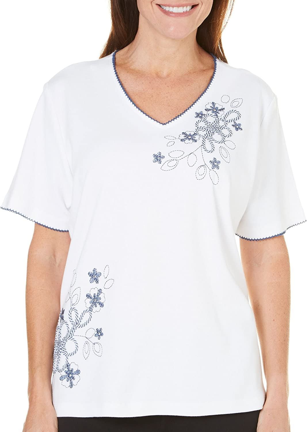 Alfred Dunner Womens St. Augustine Embroidered Top