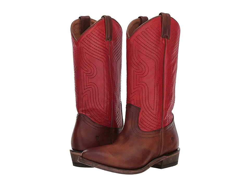 Frye Billy Stitch Pull-On (Red Multi Washed Antique Pull-Up/Polished Soft Full Grain) Women