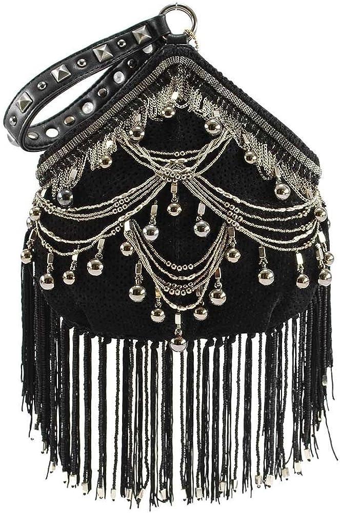 Mary Frances Swag trend rank Sales for sale Embellished Leather Handbag Wristlet Black