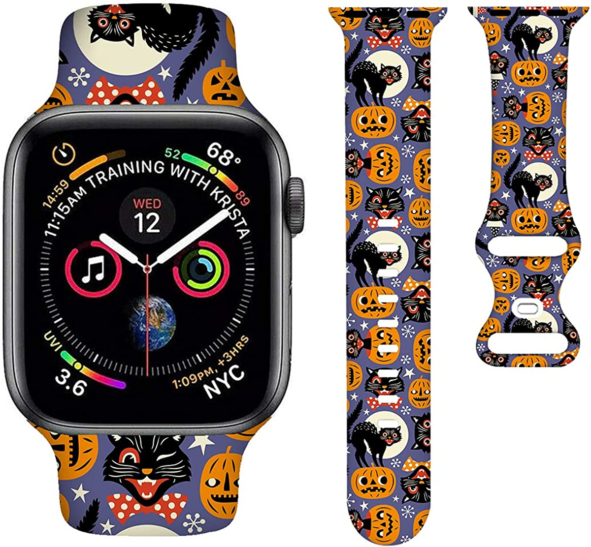 Halloween Smartwatch Band Compatible with Apple Watch 38mm 40mm Soft Silicone Strap Replacement for iWatch Series 6/5/4/3/2/1