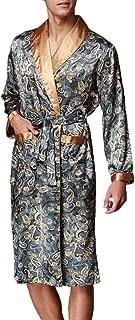 FLYCHEN Men's Shawl Collar Kimono Robe Satin Floral Bath Sleepwear