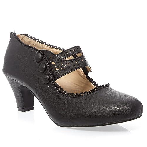 bc448f02edf9 V-Luxury Womens 36-MINA4 Closed Toe Mary Jane High Heel Shoes