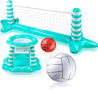 Joyjoz Inflable Voleibol Piscina Baloncesto Inflable Piscina Juguete Flotante Red de Voleibol para Piscina Baloncesto Arañ...