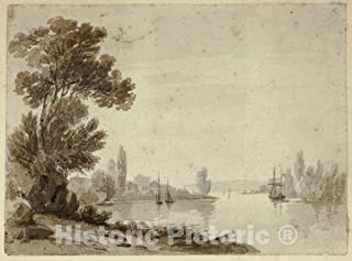Historic Pictoric Print : River Scene with Boats, William Henry Stothard Scott of Brighton, c.1793, Vintage Wall Decor : 24in x 18in