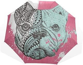 Umbrella French Bulldog Painting Travel Golf Sun Rain Windproof umbrellas with UV Protection for Womens Mens Kids Girls Boys