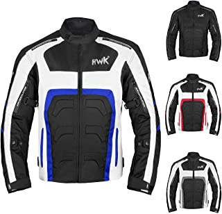 Textile Motorcycle Jacket Motorbike Jacket Breathable CE ARMORED WATERPROOF (Large, Blue)