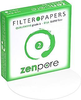9 cm Lab Filter Paper, Standard Qualitative Grade 2 - ZENPORE Slow Flow 90 mm (100 Discs)