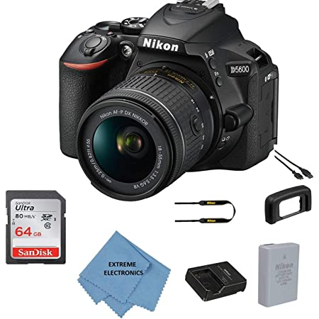 Nikon D5600 w/AF-P DX NIKKOR 18-55mm f/3.5-5.6G VR + 64GB Memory Bundle