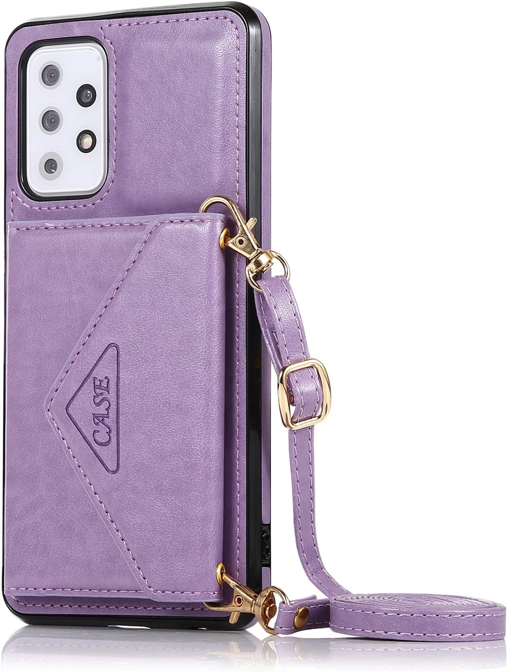 DAMONDY for Samsung A72 5G Case,Galaxy A72 Wallet Case with Lanyard Card Holder PU Leather Magnetic Closure Protective Back Girls Women Flip Phone Case for Samsung A72 5G -Purple