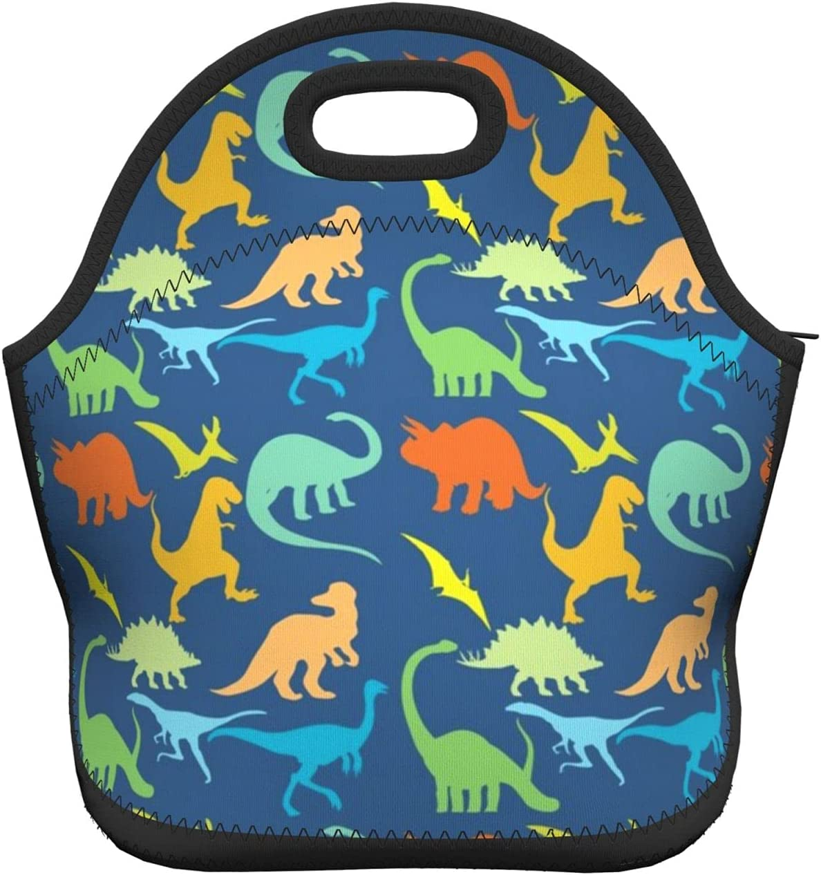 Colorful Cute Dinosaur Lunch Bag Boxes Tote Insulated Reusable Durable Zipper Travel Bag For Kids School Supplies