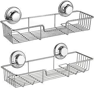 SANNO Shower CaddyStrong Suction Cup Bathroom Shower CaddiesBath Shelf Storage Combo Organizer Basket Kitchen & Bathroom A...