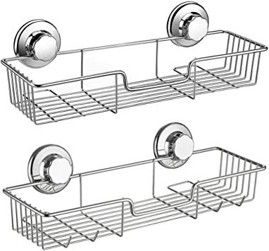 SANNO Two Shower Caddy,Strong Suction Cup Bathroom Shower Caddies,Bath Shelf Storage Combo Organizer Basket, Kitchen & Bathro