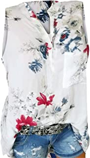 Women's Tops QUINTRA V Neck Floral Print Sleeveless Loose Plus Size Solid T-Shirt Casual Tunic Blouse