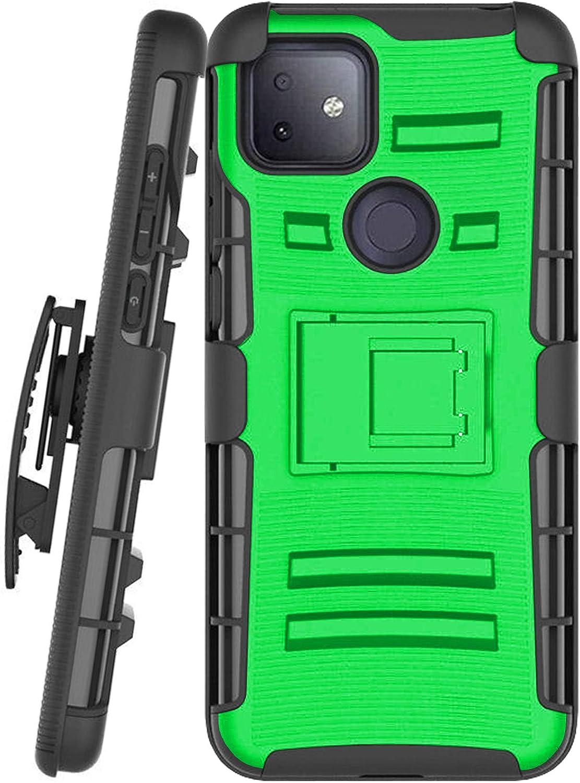 DALUX Hybrid Kickstand Holster Phone Case Compatible with T-Mobile REVVL 4 Plus/REVVL 4+ (2020) - Neon Green