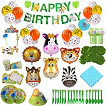 Animal-Themed Birthday Party Supply, 228 PCS - 16 Serves, Jungle Zoo Farm Safari Invites/Tableware/Favors/Balloons/More!
