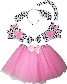 Kids Spotted Dog Costume Tutu Set Pink