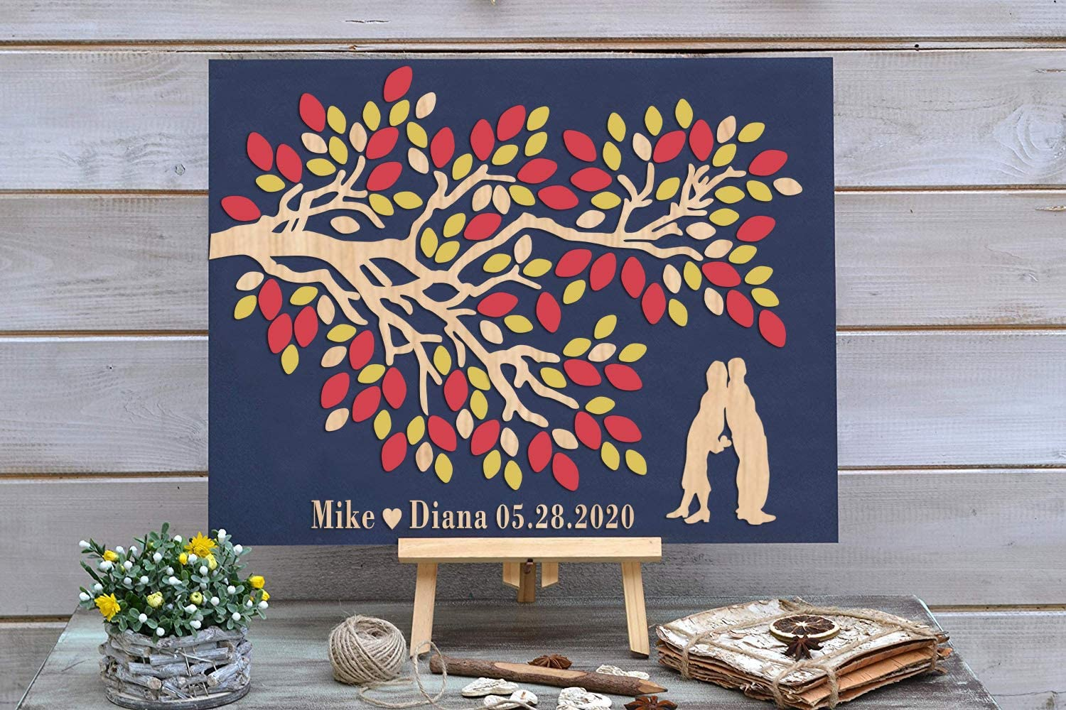 3D Rustic Wooden Wedding Max 53% OFF Guest Couples All items in the store - Alternative Book Custom